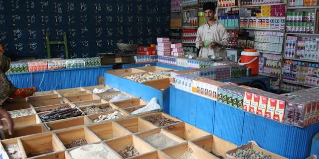 Traditional herbal dispensary, northern Pakistan.