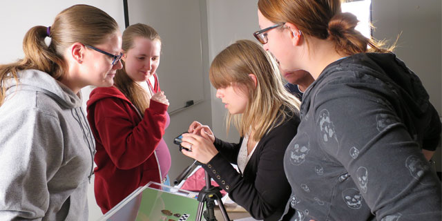 Students photographing artifacts