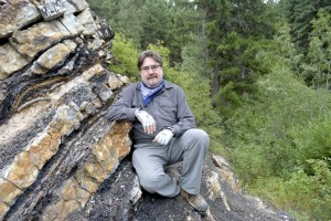 Dr. David Greenwood, poses at the Princeton Chert fossil locality, near Princeton, B.C., in august 2015.