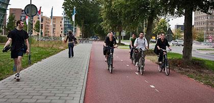 Cyclists in bike lane.