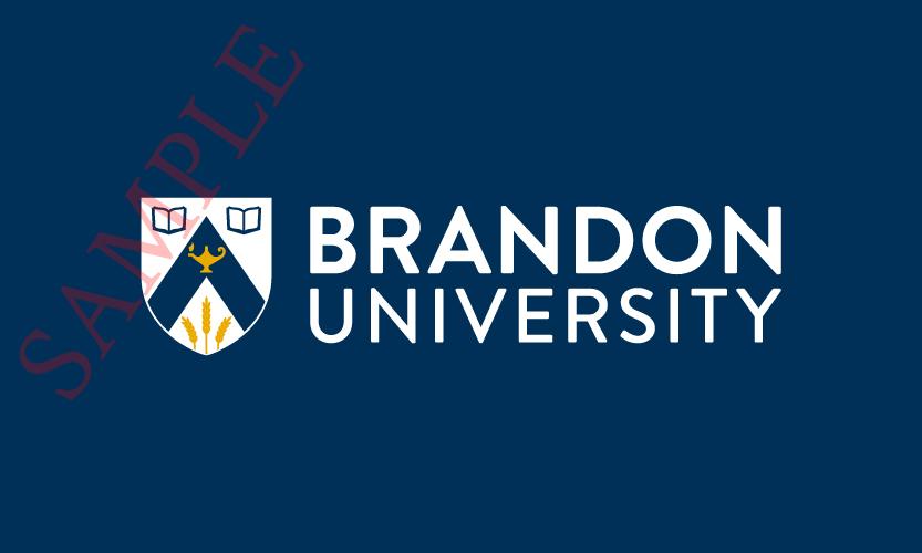 Brandon University Horizontal Logo 2 Colour White Text and White Stroke