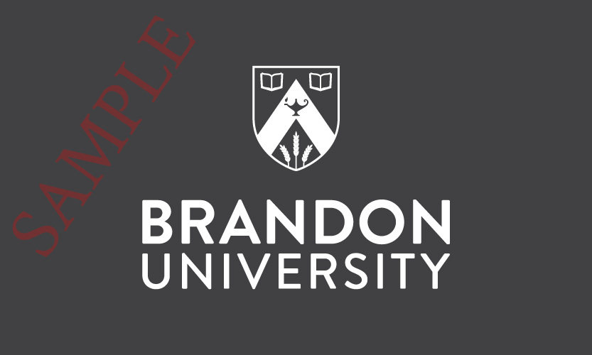 Brandon University Vertical Logo 1 Colour White