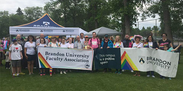 BU staff and faculty at Pride event