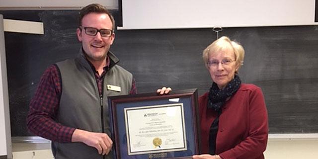 Lynn Whidden award presentation