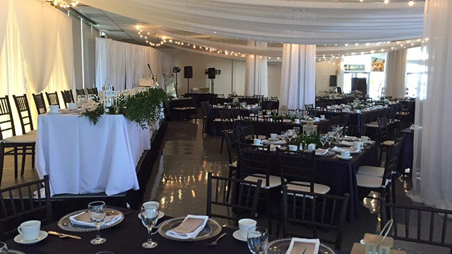 Harvest Hall setup and decorated for a wedding reception