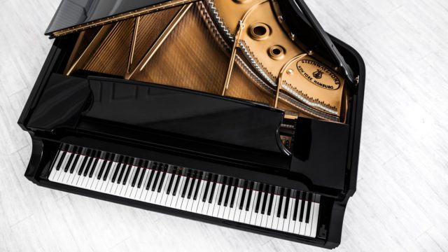 Overhead view of Steinway piano