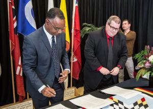 Former BU President Gervan Fearon at Indigenous Blueprint signing