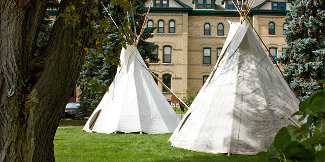 Tipis in front of Clark Hall