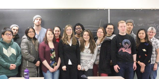Dr. Claudia Bouliane with students from Introductory French