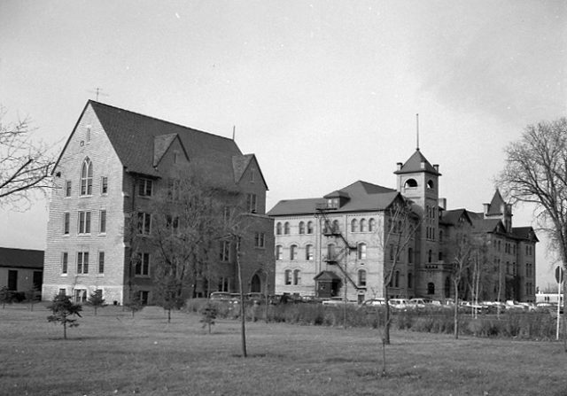 Black and white photo of original science building and Original Building/Clark Hall.