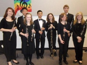 2014 National Youth Band, clarinet section, with BU students Alexander Harrington (far left), Vanessa Klassen (3rd from left), Amanda Forest (3rd from right), and Preston Rocan (2nd from right)