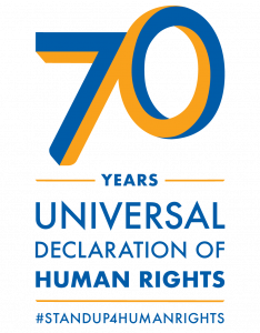Logo for 70 years of Universal Declaration of Human Rights, with hashtag standup4humanrights
