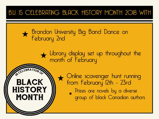 A yellow and black poster for Black History Month advertises the Brandon University Big Band Dance on February 2, a Library display that will be up throughout February and an online scavenger hunt from February 12 to 23.