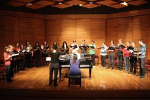BU Chorale Choir rehearses in the Lorne Watson Hall before Baltics Tour 2014