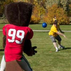 BU student throws at MSU mascot (web)