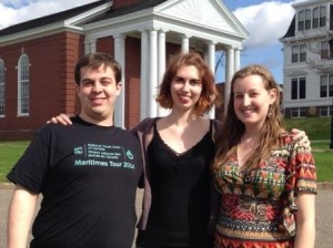 BU students Connor Lavell, Aliah Nelson, and Emma Lytle at Acadia University, Wolfville, NS