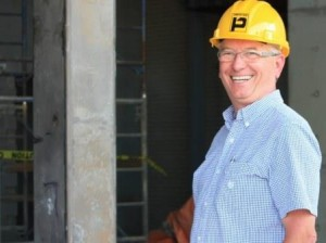 BUILD Campaign Chair, Dr. Tom Breneman, during Healthy Living Centre construction