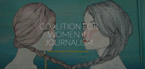 "Illustration of two women, with the words ""Coalition for Women in Journalism"" in front of the image."