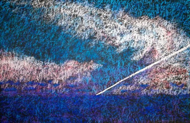 Picure of a painting with streaks of dark blue, light blue and white