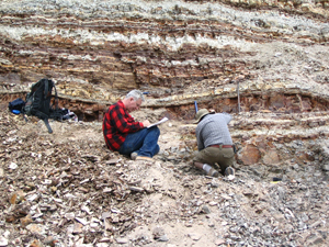 Dr David Greenwood (back to camera) and Dr Bruce Archibald collecting fossils at the McAbee Eocene fossil site west of Kelowna in 2005.
