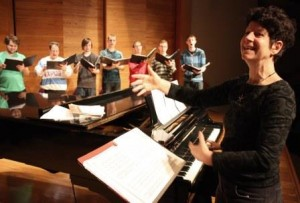 Dr. Andrée Dagenais leads Chorale Choir in final rehearsal before Baltics Tour 2014 (web).