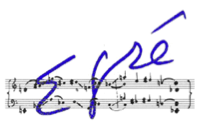Logo of the E-gre competition shows the name E-gre handwritten over a music staff