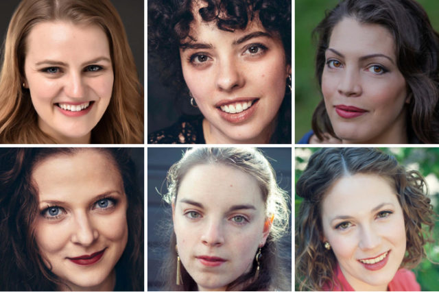 Headshots of six women, arranged in two rows of three