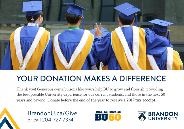 "Photo shows students in graduation apparel from behind, with one giving victory signal with his fingers. The item has a headline that says ""Your donation makes a difference."" The picture also contains the script ""Thank you! Generous contributions like yours help BU to grow and flourish, providing the best possible University experience for our current students, and those in the next 50 years and beyond. Donate before the end of the year to receive a 2017 tax receipt."""