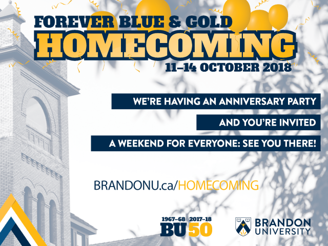 "Poster for Homecoming features ""Homecoming"" written in gold, below ""Forever Blue & Gold"" in blue text and above ""11-14 October 2018"" in blue text. Poster includes faded picture of Clark Hall in the background"