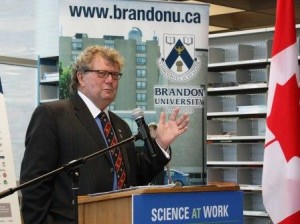 Hon. Ed Holder announces SHHRC grant at Brandon University, Aug 27, 2014 (web)