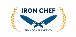 Image features words Iron Chef at top, with two crossed knives and Brandon University below. A stalk of each wheat forms a semicircle at each side of image