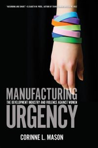 The cover of Manufacturing Urgency features the title in grey lettering. In the background his a hand with several coloured bands on the wrist.