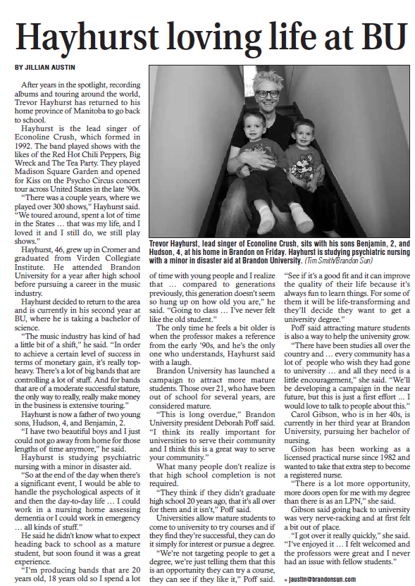 Brandon Sun article about mature students at Brandon University published Dec 22, 2012