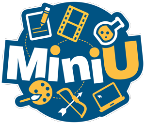 "Logo for Mini University shows the text ""Mini U"" in a blue circle, surrounded by a pencil and paper, filmstrip, laboratory flask, paintbrush and pallet, bow and arrow, and a computer."
