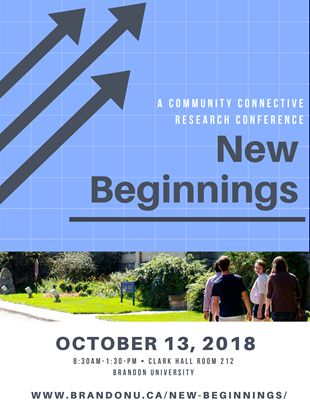 Poster for New Beginnings conference features the event title and arrows pointed up on a blue-coloured graph at the top of the page. At the centre a group of people walk in front of Clark Hall. The date October 13, 2018 is at the bottom.