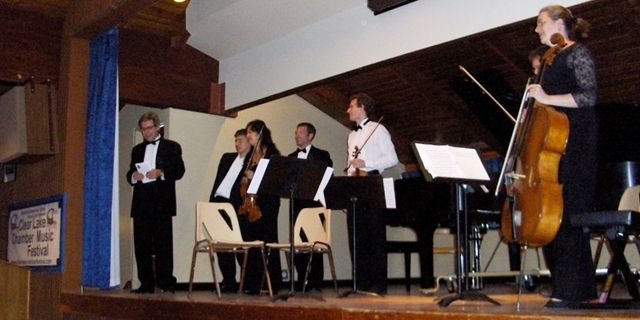 Performer introduction, Clear Lake Chamber Music Festival (banner)