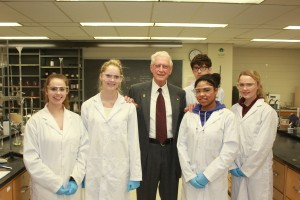 Dr. Peter Letkeman with BU Science students