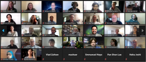 Screenshot of many people participating in a videoconference
