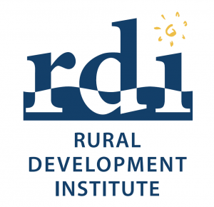 "Logo features the letter's rdi with a sun forming the dot above the ""i"" and the words RURAL DEVELOPMENT INSTITUTE written below"
