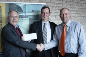 RDI Director Dr. Bill Ashton, Dean of Arts Dr. Bruce Strang, and Drew Caldwell, MLA Brandon East