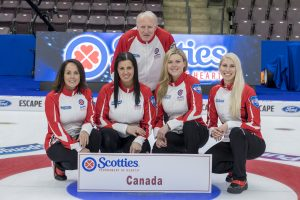 A man stands slightly crouched behind four kneeling women on the rings of a curling ring. A sign displaying the team name, Canada, is in front of the team