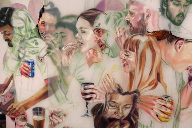 Artwork features images of many people eating and drinking