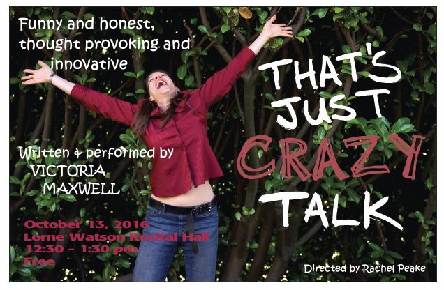 Victoria Maxwell throws her arms into the air on the poster for That's Just Crazy Talk