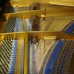 Close up of piano interior
