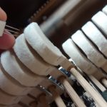Close up of piano hammers