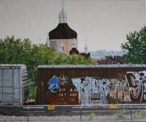 Photograph of a painting featuring a train painted with graffiti in the foreground, with the church spire in the background