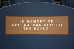 Tribute seat to Cpl. Nathan Cirillo in Healthy Living Centre, 2014 (web)