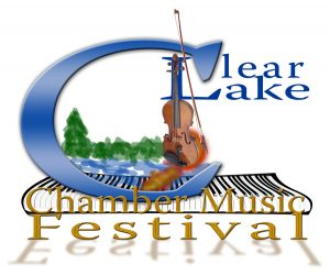 Logo for Clear Lake Chamber Music Festival features the words Clear Lake in Blue above a boardwalk, with Chamber Music Festival written below in gold. A violin is also standing upright on the boardwalk