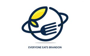 "Logo features a circle with a fork bending around it and the words ""Everyone Eats Brandon"" at the bottom"