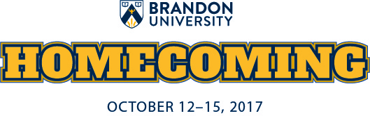"Homecoming logo features Brandon University logo above the word ""homecoming"" with dates of Oct. 12 - 15, 2017 at bottom"